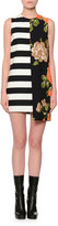 MSGM Sleeveless Floral & Stripe Shift Dress, Multicolor