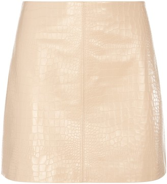 Alice + Olivia Riley Croc Leather Mini Skirt