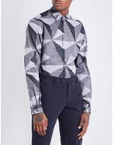Duchamp Mens Grey Casual Tailored-Fit Geometric Pattern Shirt