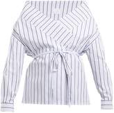 Stella Jean Tie-waist striped cotton wrap top