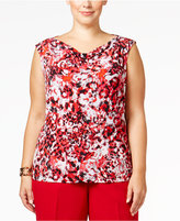 Kasper Plus Size Printed Drape-Neck Top