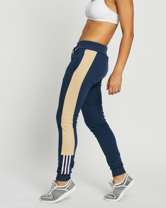 adidas Women's Blue Track Pants - Essentials Logo Colourblock Pants - Size XS at The Iconic