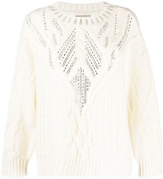 Ermanno Scervino Glass-Embellished Cable Knit Jumper
