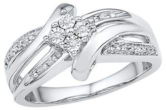 1/20 CT. T.W. Round Diamond Prong, Miracle and Nick Set Fashion Ring in Sterling Silver (4.5)