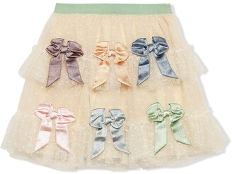 Gucci Kids Tulle Plumetis Skirt With Bows