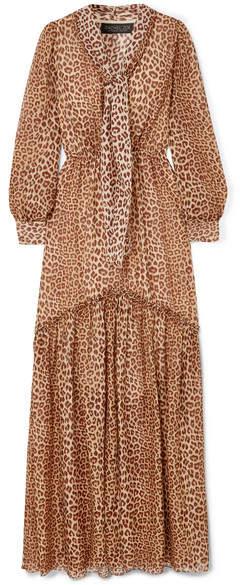 Rachel Zoe Verushka Leopard-print Silk-chiffon Maxi Dress - Camel