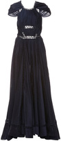 Zac Posen Ruched Novelty Cotton Cap Sleeve Gown