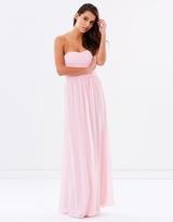 Strapless Chiffon Evening Dress - Pink