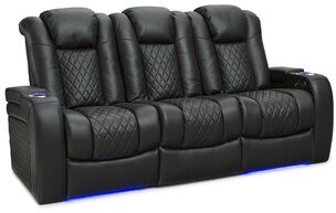 Latitude Run Leather Home Theater Sofa Upholstery Color: Black