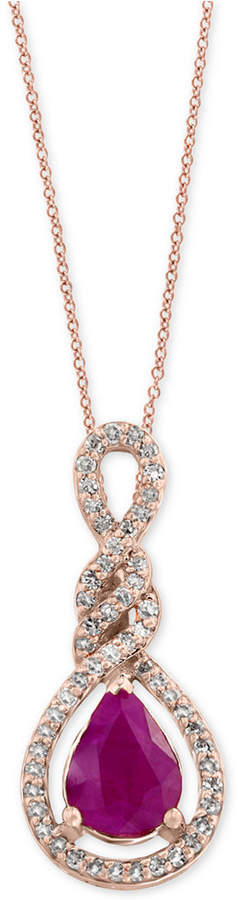 Effy Amore by Certified Ruby (9/10 ct. t.w.) and Diamond (1/5 ct. t.w.) Pendant Necklace in 14k Rose Gold, Created for Macy's