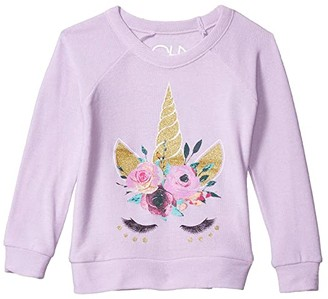 Chaser Unicorn Lashes Cozy Knit Raglan Pullover (Toddler/Little Kids) (Posy) Girl's Clothing