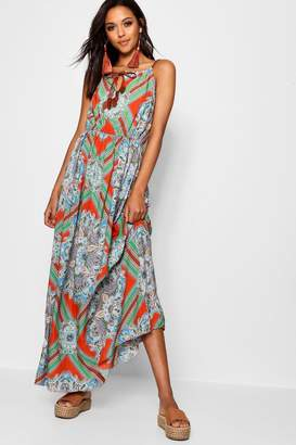 boohoo Plait Detail Paisley Print Maxi Dress