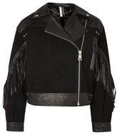 Topshop Stand out embellished leather biker jacket