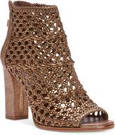 Donald J Pliner Kasper Crochet Block-Heel Sandals