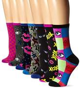 Betsey Johnson Women's Here's To Looking at You Crew Sock Gift Box 7-Pack