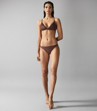 Reiss Raquel - Pleat Detail Bikini Top in Dark Brown