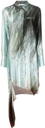 Off-White Printed Asymmetric Shirt Dress