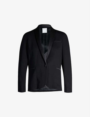 Sandro Satin-trim stretch-woven blazer