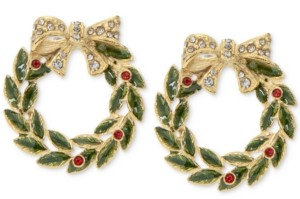 Charter Club Holiday Lane Gold-Tone Crystal & Stone Wreath Stud Earrings, Created for Macy's