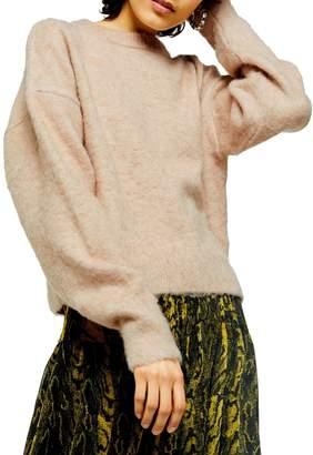 Topshop Balloon-Sleeve Drop-Shoulder Brushed Sweater