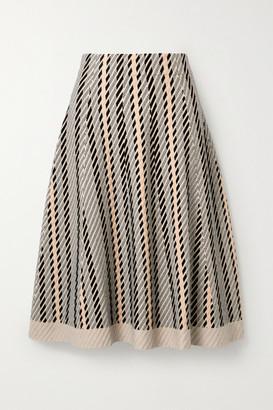 Akris Striped Textured Wool-blend Midi Skirt - Neutral