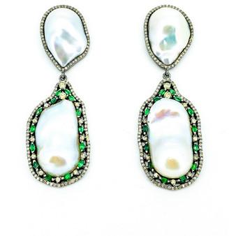 Arthur Marder Fine Jewelry 2.73 Ct. Tw. Diamond, Emerald, & 26-13Mm Pearl Earrings