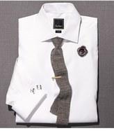 David Donahue Men's Trim Fit Twill French Cuff Tuxedo Shirt