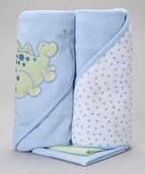 SpaSilk Green Dinosaur Hooded Towel & Washcloth Set