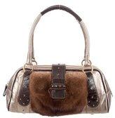 Valentino Mink & Ostrich Shoulder Bag