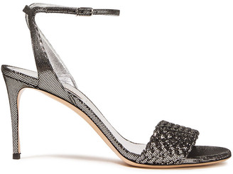 Casadei Metallic Coated Suede And Woven Sandals