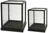 "A&B Home Set of 2 Glass and Wood Display Boxes - 17.5"" and 19"""