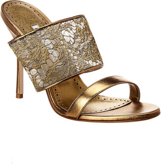 Manolo Blahnik Fiala 105 Leather & Lace Sandal