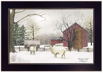 "Trendy Decor 4U Winter Coat sheep by Billy Jacobs, Ready to hang Framed Print, Black Frame, 20"" x 14"""