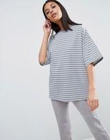 Asos Short Sleeve Oversized Stripe Top In Baby Loop Back