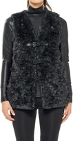 Max Studio Faux Fur Vest With Buckles