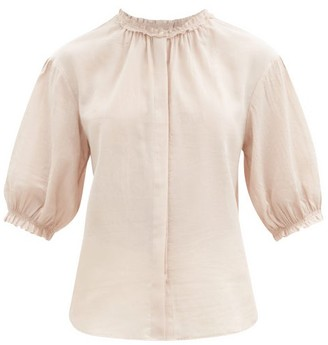 Loup Charmant Pico Ruffled Organic-cotton Blouse - Light Pink
