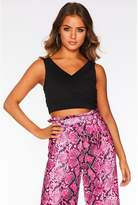 Quiz Black Wrap Crop Top
