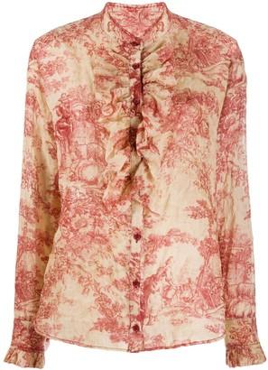 UMA WANG Floral-Print Ruffled Shirt