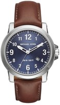 MICHAEL Michael Kors MICHAEL Micheal Kors 'Paxton' Leather Strap Watch, 43mm