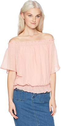Amy Byer A. Byer Women's Short Off The Shoulder Smocked Top
