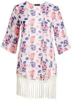 Chloé Alisha & Women's Kimono Cardigans 1002 - Pink & Purple Floral Fringe-Trim Kimono - Women