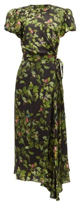 Preen by Thornton Bregazzi Anabelle Forest-print Satin Wrap Dress - Womens - Black Green