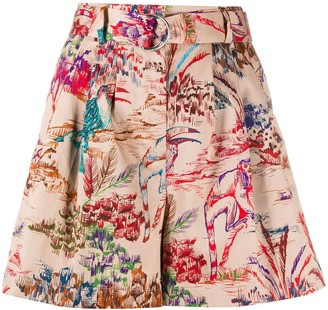 MSGM Graphic-Print Belted Shorts
