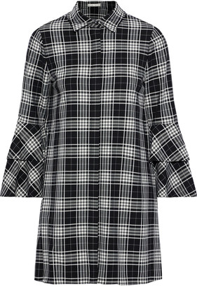 Alice + Olivia Jem Ruffled Checked Twill Mini Shirt Dress