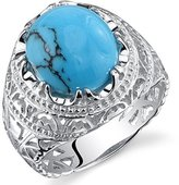 Peora Mens Synthetic Turquoise Ring Sterling Silver Medieval Style Size 9
