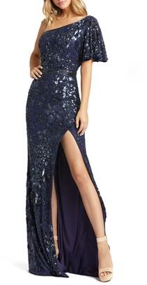 Mac Duggal One-Shoulder Sequin Gown