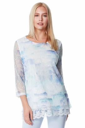 Roman Originals Women Lace Trim Mesh Overlay Abstract Print Top - Ladies Spring Summer Holiday Casual Travel Packing Net Layer Round Neck 3/4 Sleeve Tops - Light Blue - Size 10