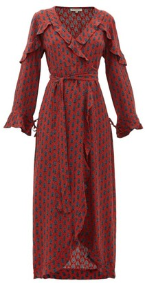 D'Ascoli Mileta Ruffle Trimmed Printed Silk Wrap Dress - Womens - Red