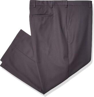 Arrow 1851 Arrow Men's Big & Tall Big and Tall Flat Front Straight Fit Solid Twill Micro Dress Pant