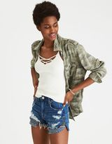 American Eagle Outfitters AE Embroidered Boyfriend Utility Shirt